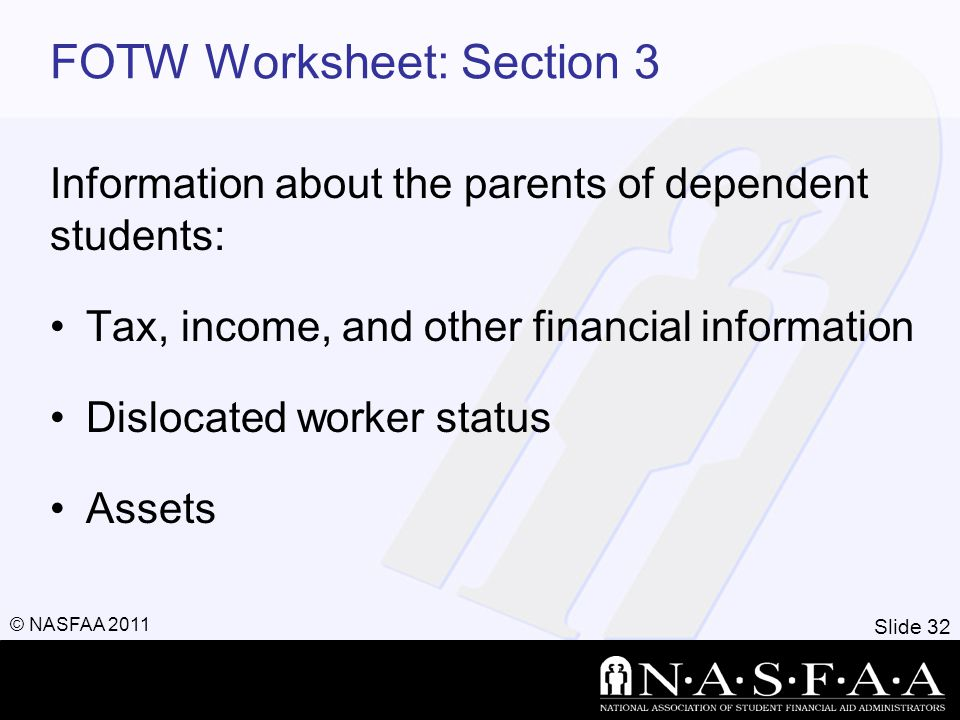 Slide 32 © NASFAA 2011 FOTW Worksheet: Section 3 Information about the parents of dependent students: Tax, income, and other financial information Dis
