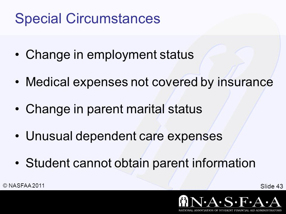 Slide 43 © NASFAA 2011 Special Circumstances Change in employment status Medical expenses not covered by insurance Change in parent marital status Unu