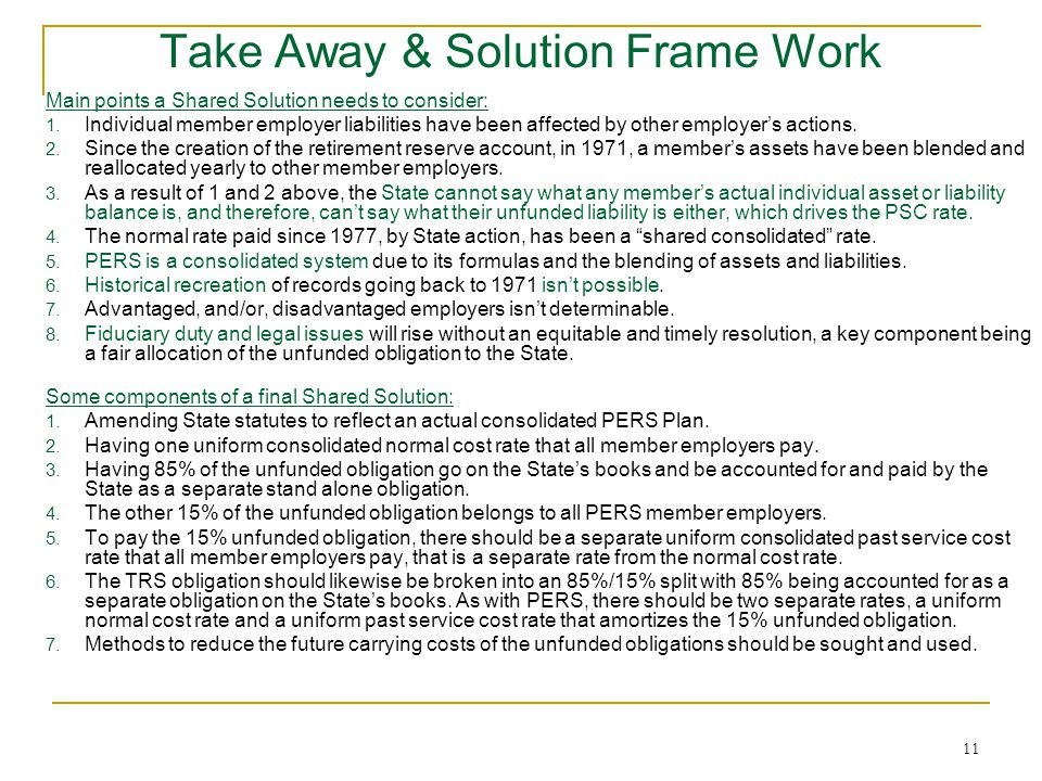 11 Take Away & Solution Frame Work Main points a Shared Solution needs to consider: 1.