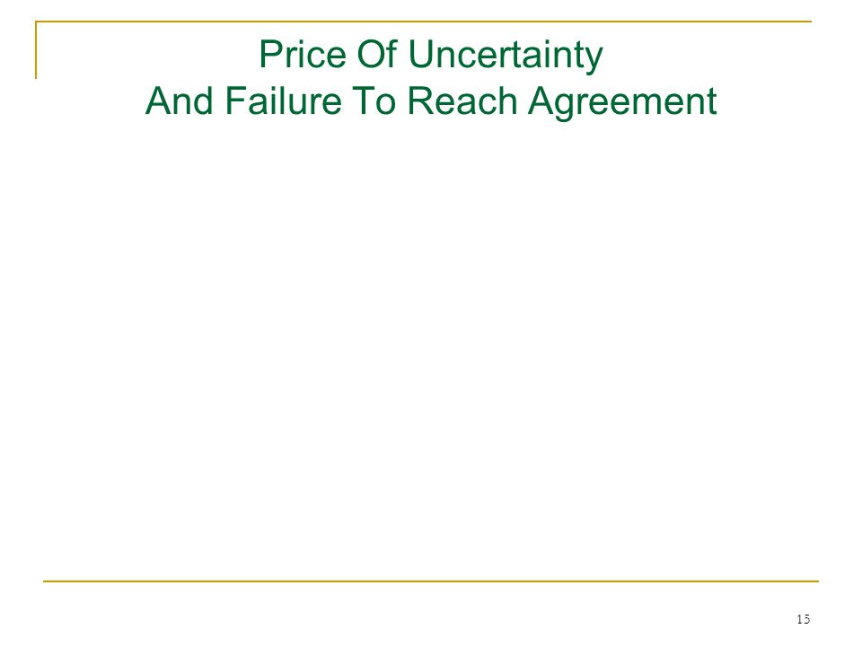 15 Price Of Uncertainty And Failure To Reach Agreement