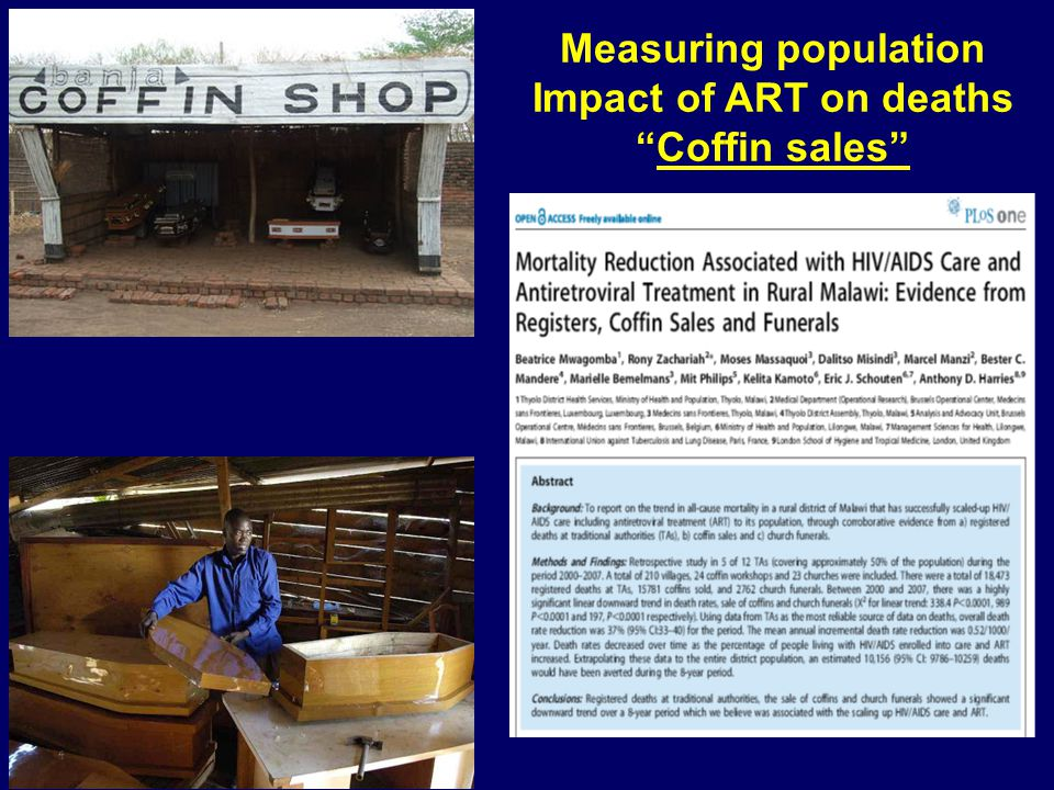 "Measuring population Impact of ART on deaths ""Coffin sales"""