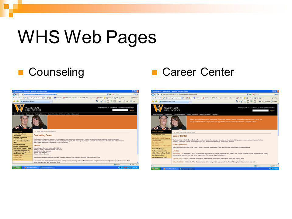 WHS Web Pages Counseling Career Center
