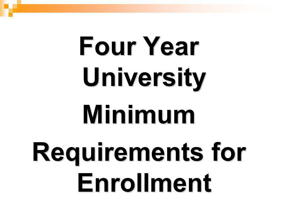 Four Year University Minimum Requirements for Enrollment