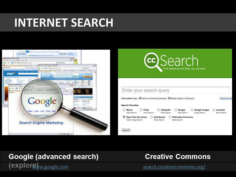 INTERNET SEARCH Google (advanced search) Creative Commons (explore) www.google.comwww.google.com www.google.com search.creativecommons.org/ www.google.comsearch.creativecommons.org/