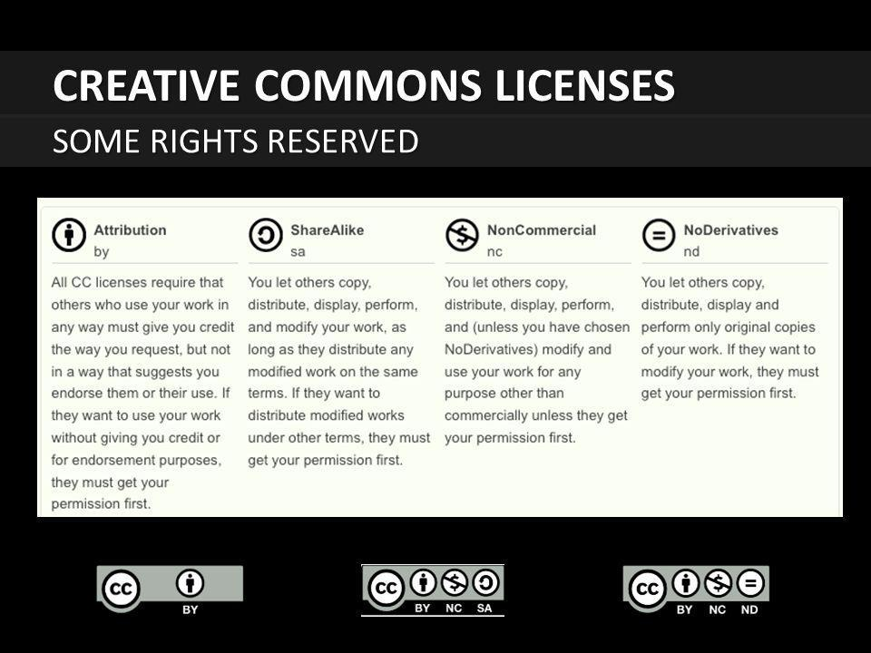 CREATIVE COMMONS LICENSES SOME RIGHTS RESERVED