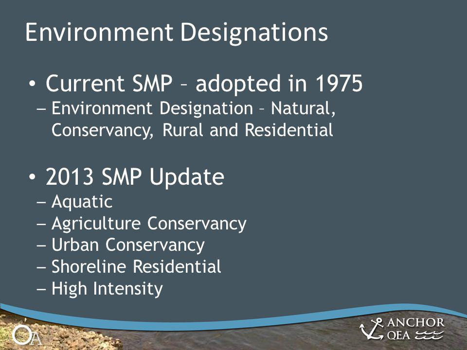 12 Environment Designations Current SMP – adopted in 1975 – Environment Designation – Natural, Conservancy, Rural and Residential 2013 SMP Update – Aquatic – Agriculture Conservancy – Urban Conservancy – Shoreline Residential – High Intensity