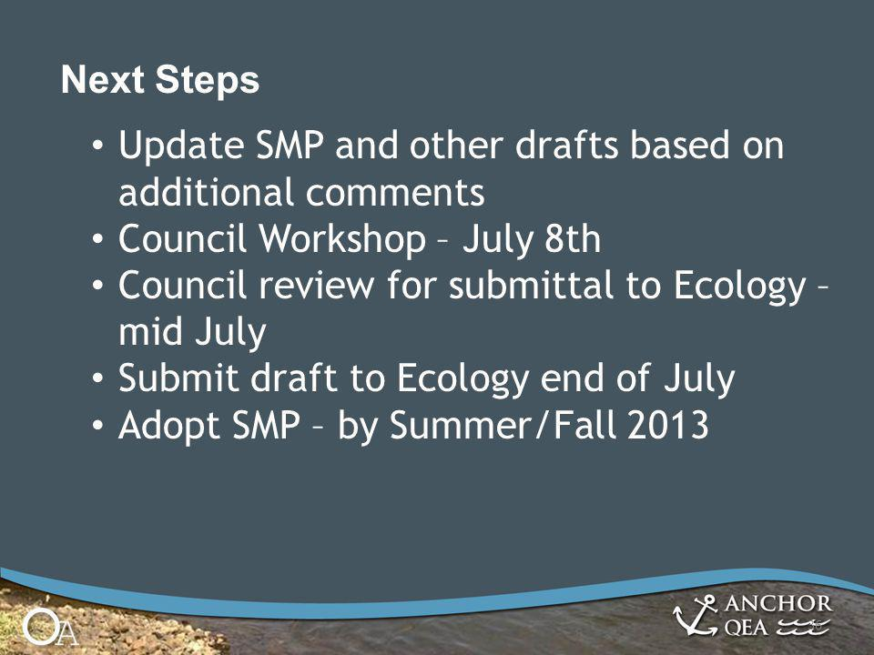 36 Next Steps Update SMP and other drafts based on additional comments Council Workshop – July 8th Council review for submittal to Ecology – mid July Submit draft to Ecology end of July Adopt SMP – by Summer/Fall 2013