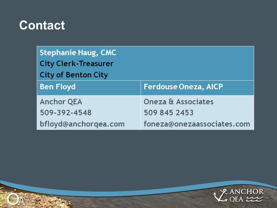 37 Stephanie Haug, CMC City Clerk-Treasurer City of Benton City Ben FloydFerdouse Oneza, AICP Anchor QEA 509-392-4548 bfloyd@anchorqea.com Oneza & Ass