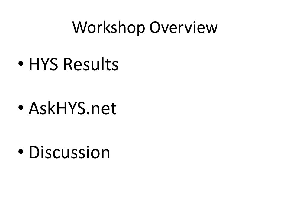 Workshop Overview HYS Results AskHYS.net Discussion