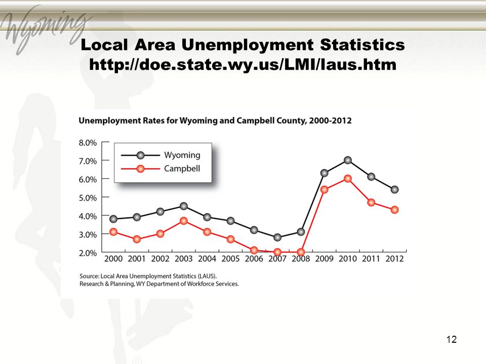 Local Area Unemployment Statistics http://doe.state.wy.us/LMI/laus.htm 12