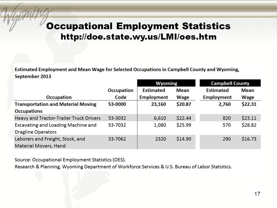 Occupational Employment Statistics http://doe.state.wy.us/LMI/oes.htm 17
