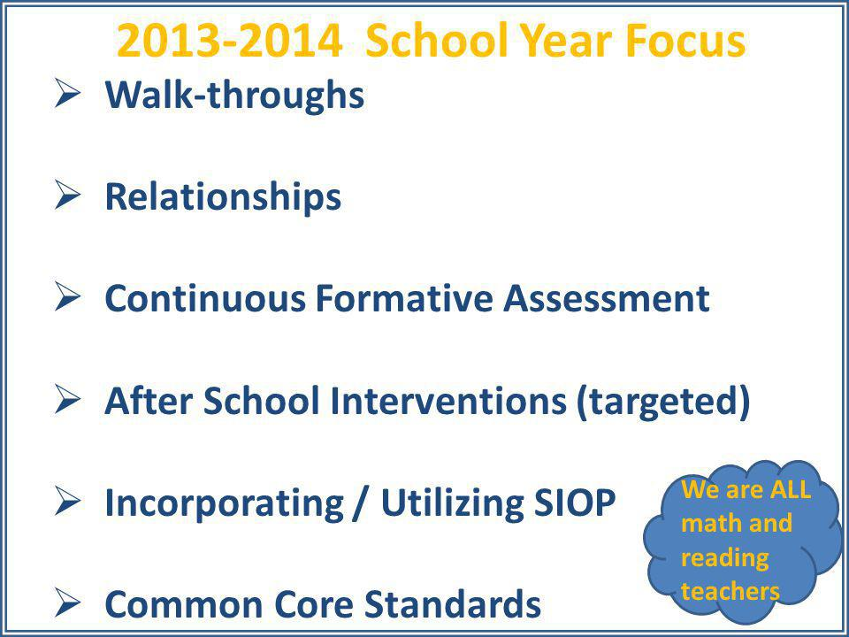  Walk-throughs  Relationships  Continuous Formative Assessment  After School Interventions (targeted)  Incorporating / Utilizing SIOP  Common Co