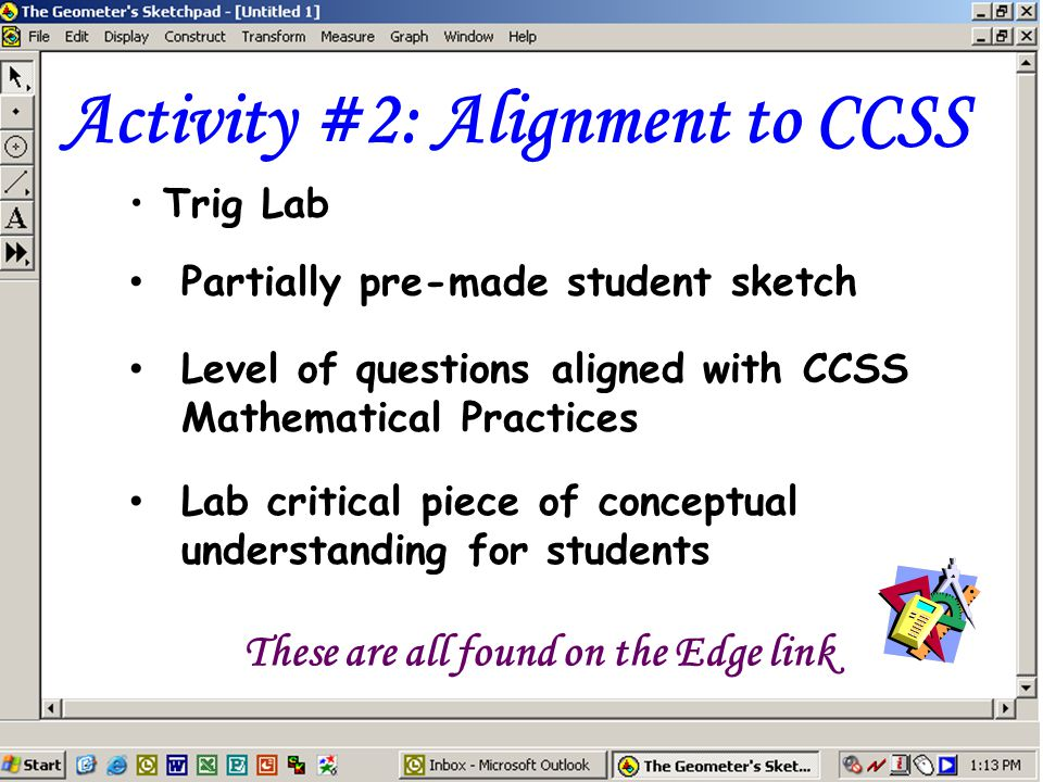 Activity #2: Alignment to CCSS Trig Lab Partially pre-made student sketch These are all found on the Edge link Level of questions aligned with CCSS Mathematical Practices Lab critical piece of conceptual understanding for students