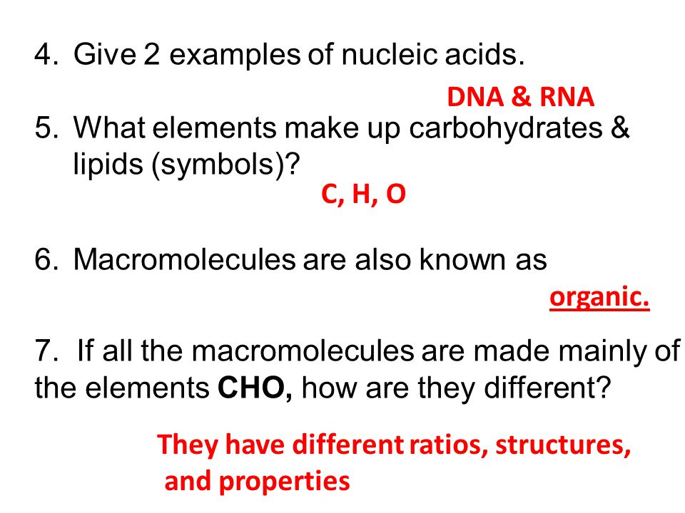 4.Give 2 examples of nucleic acids. 5.What elements make up carbohydrates & lipids (symbols)? 6.Macromolecules are also known as 7. If all the macromo