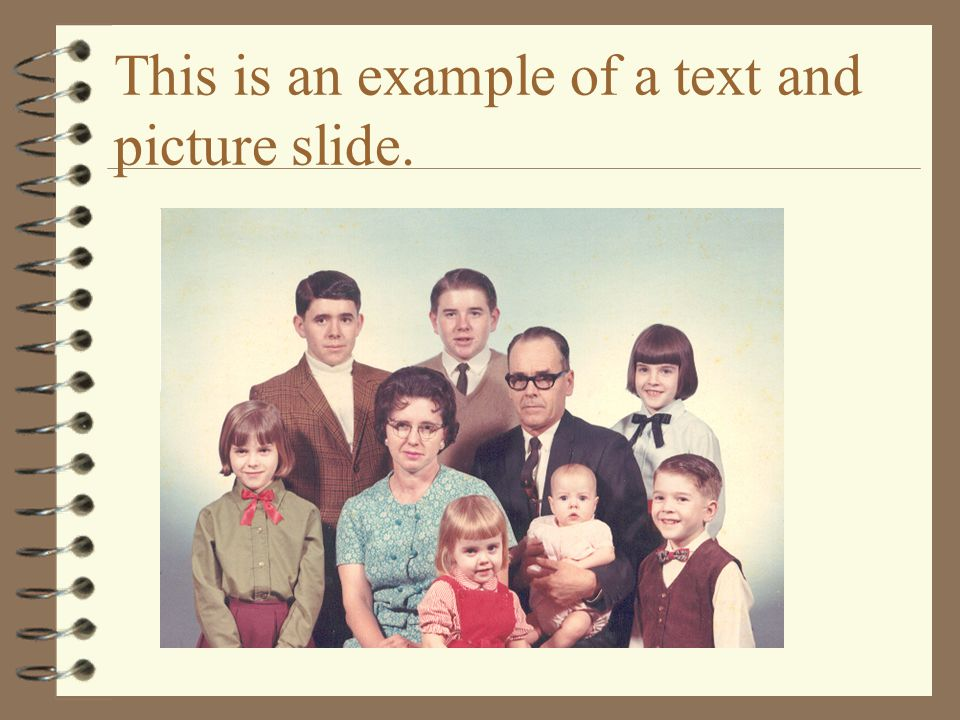 This is an example of a text and picture slide.