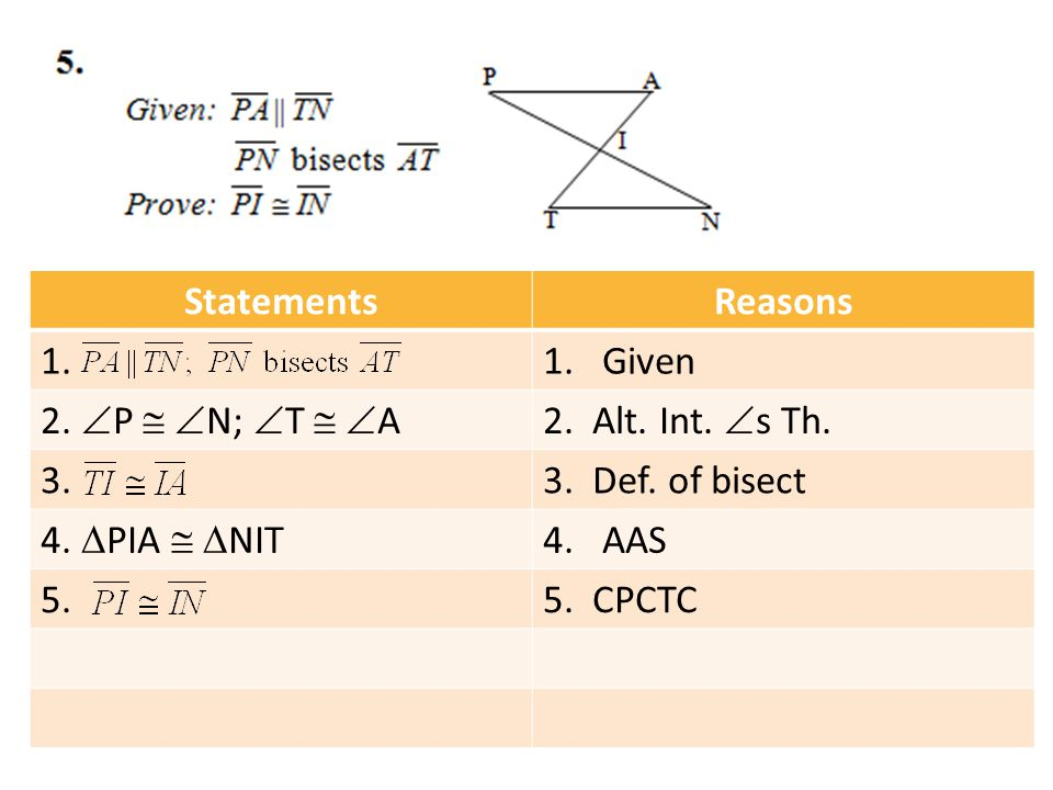 StatementsReasons 1.1.Given 2.  P   N;  T   A2. Alt. Int.  s Th. 3.3. Def. of bisect 4.  PIA   NIT 4.AAS 5.5. CPCTC