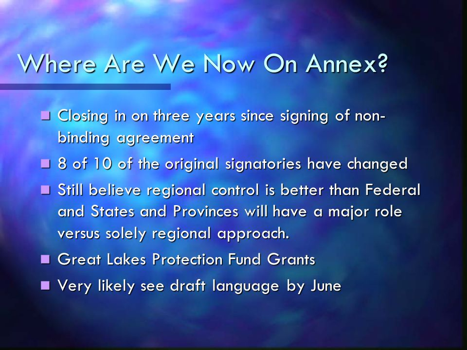 Where Are We Now On Annex.