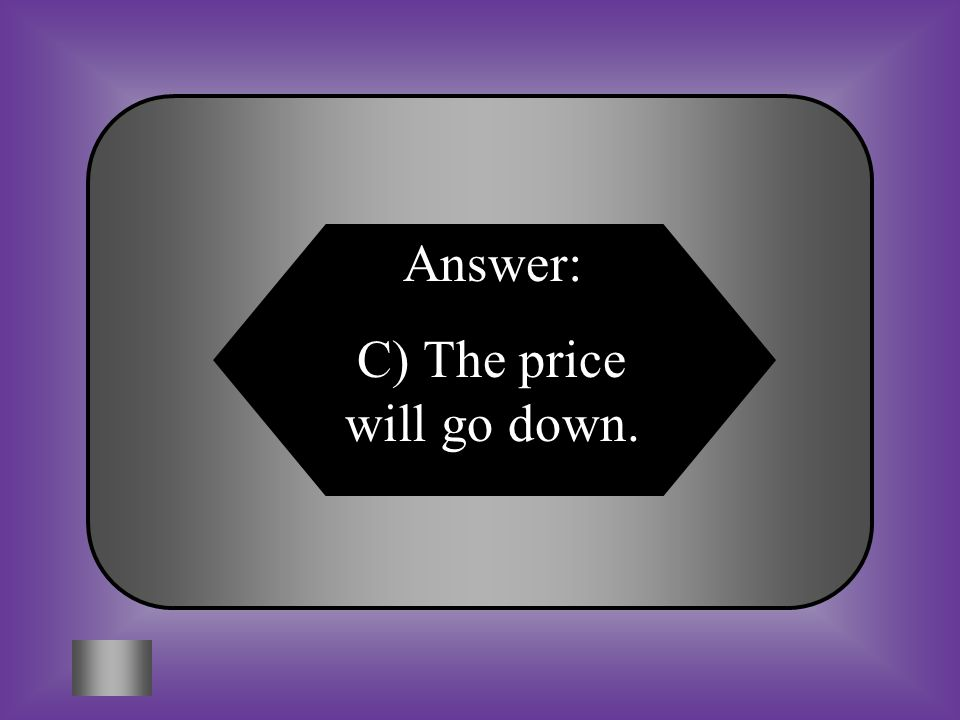 Answer: C) The price will go down.