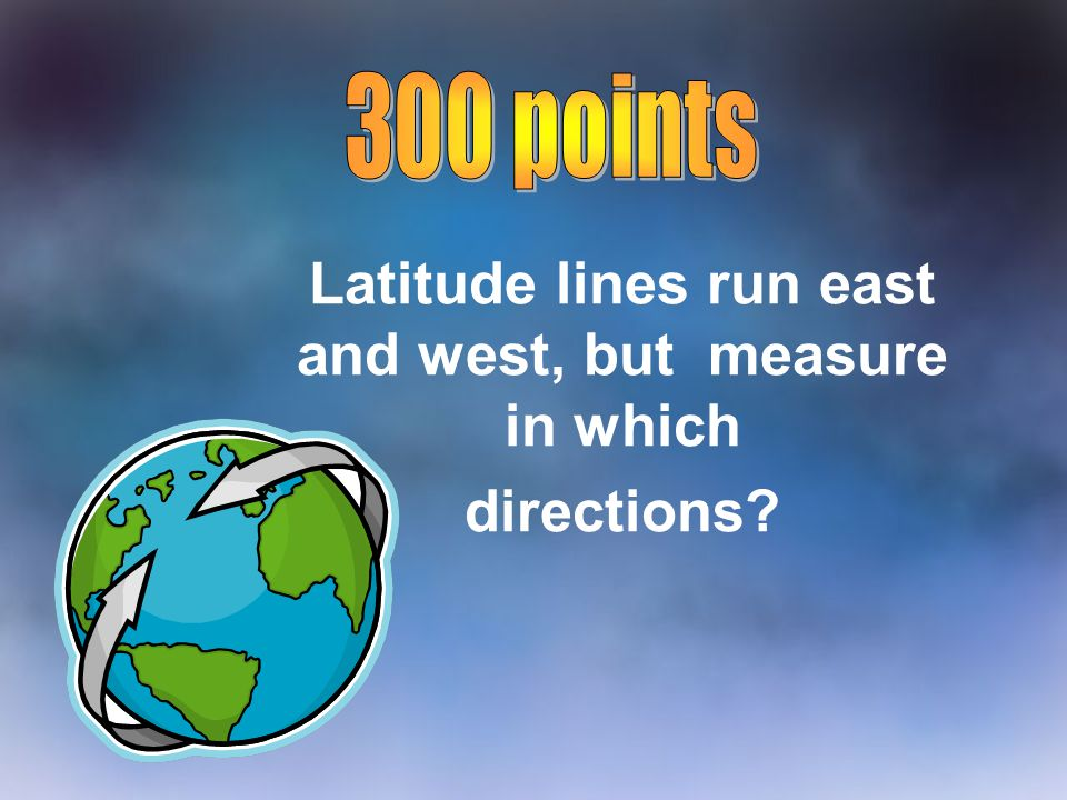 Latitude lines run east and west, but measure in which directions?