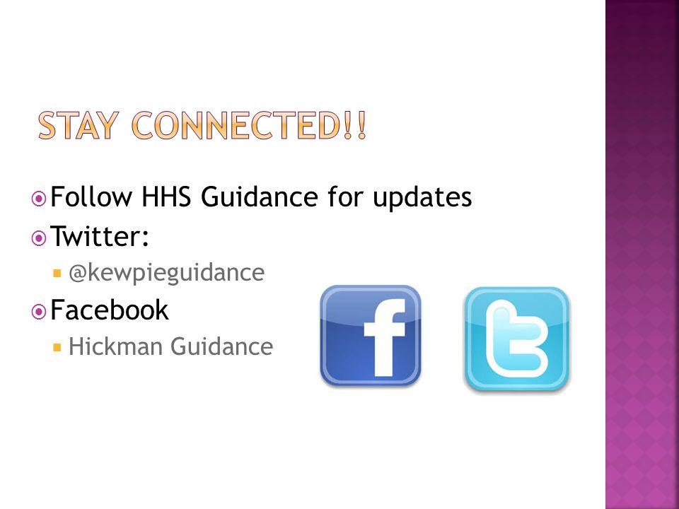  Follow HHS Guidance for updates  Twitter:  @kewpieguidance  Facebook  Hickman Guidance