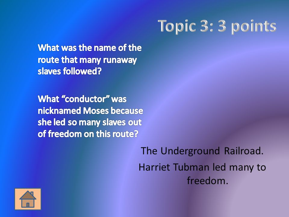 The Underground Railroad. Harriet Tubman led many to freedom.