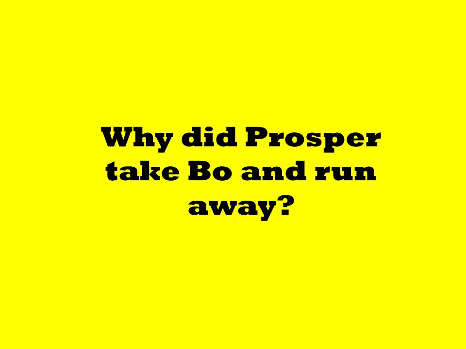 Why did Prosper take Bo and run away?