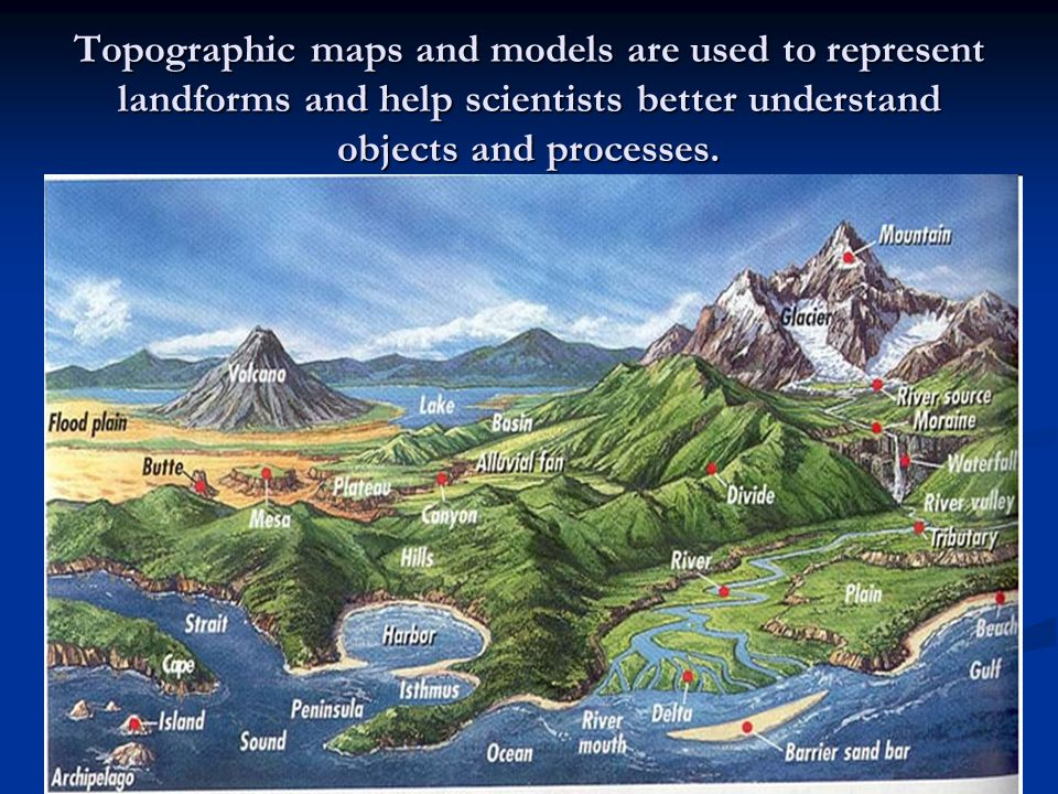 Topographic maps and models are used to represent landforms and help scientists better understand objects and processes.