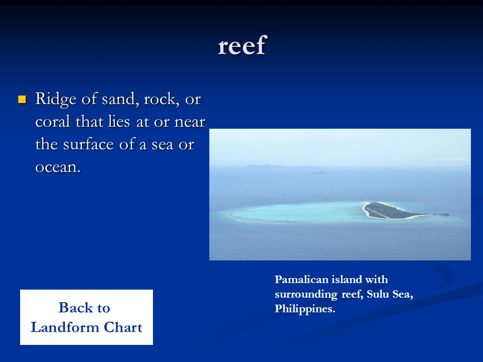 reef Ridge of sand, rock, or coral that lies at or near the surface of a sea or ocean. Ridge of sand, rock, or coral that lies at or near the surface
