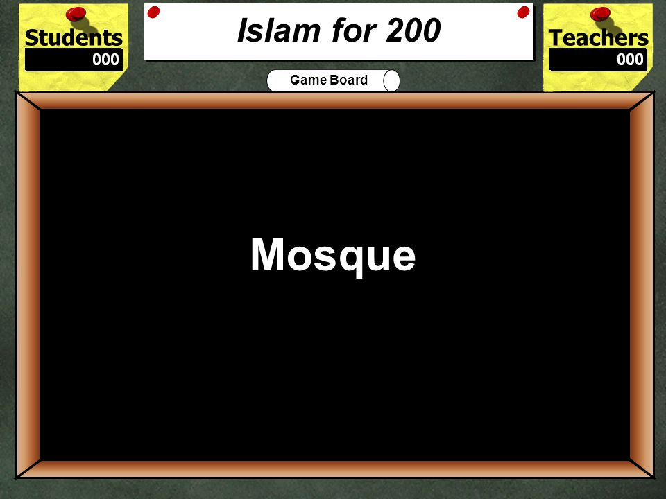 StudentsTeachers Game Board What Islam holiday requires fasting 100 Ramadan Islam for 100