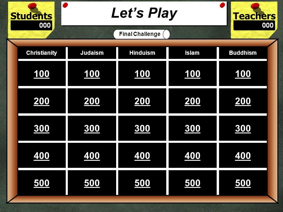 StudentsTeachers Game BoardChristianityJudaismHinduismIslamBuddhism 100 200 300 400 500 Let's Play Final Challenge