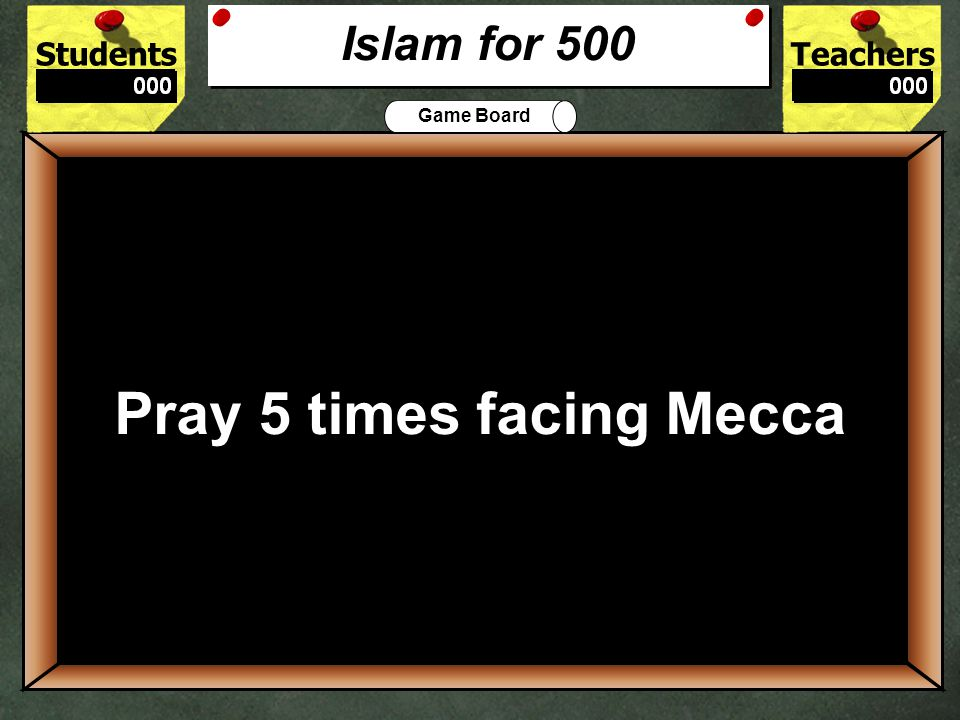 StudentsTeachers Game Board Islam practice requires its believers to follow the 5___________. 400 5 Pillars Islam for 400
