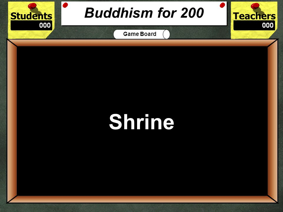 StudentsTeachers Game Board The Holy Book for Buddhism is called the ___________. 100 Sutras & Tripitaka Buddhism for 100