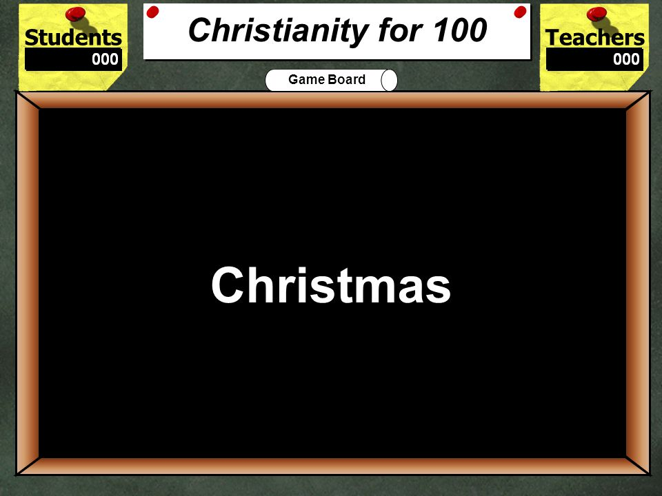 StudentsTeachers Game BoardChristianityJudaismHinduismIslamBuddhism Let's Play Final Challenge