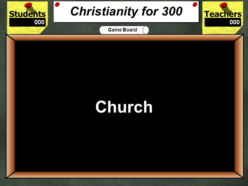 StudentsTeachers Game Board What is the Christian place of worship called.