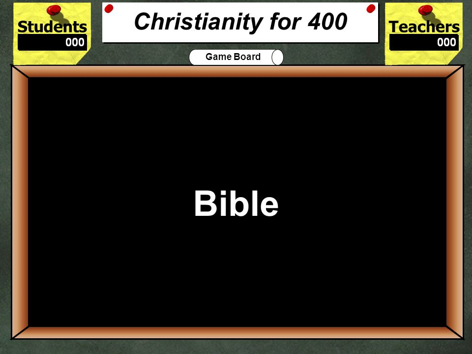 StudentsTeachers Game Board What is the Christian place of worship called? 300 Church Christianity for 300