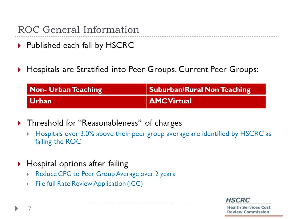 7 ROC General Information  Published each fall by HSCRC  Hospitals are Stratified into Peer Groups.