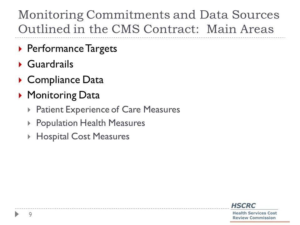 9 Monitoring Commitments and Data Sources Outlined in the CMS Contract: Main Areas  Performance Targets  Guardrails  Compliance Data  Monitoring D