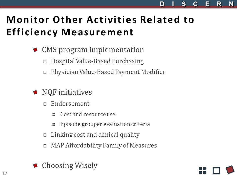 DISCERNDISCERN Monitor Other Activities Related to Efficiency Measurement CMS program implementation Hospital Value-Based Purchasing Physician Value-B