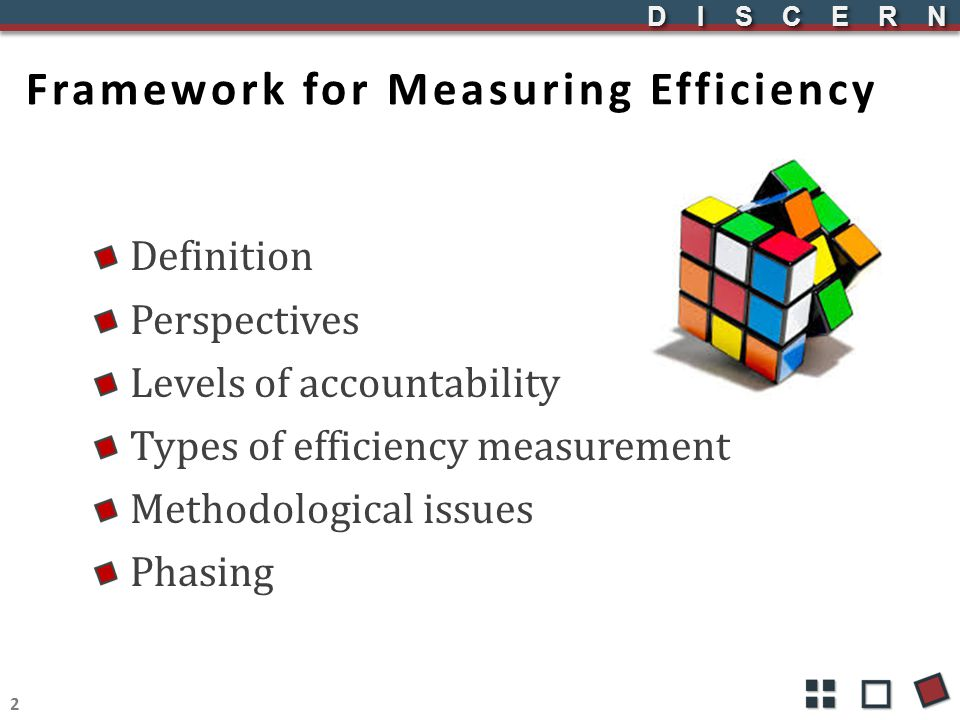 DISCERNDISCERN Framework for Measuring Efficiency Definition Perspectives Levels of accountability Types of efficiency measurement Methodological issu