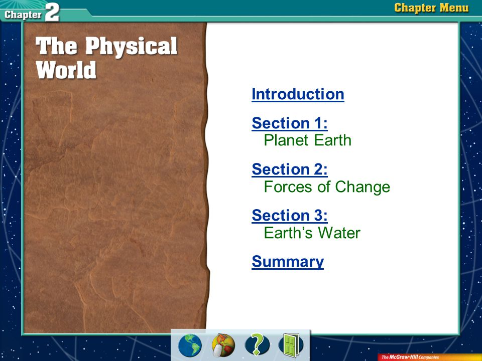 Chapter Intro 1 Physical processes shape Earth's surface.