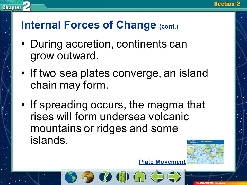 Section 2 Internal Forces of Change (cont.) During accretion, continents can grow outward. If two sea plates converge, an island chain may form. If sp