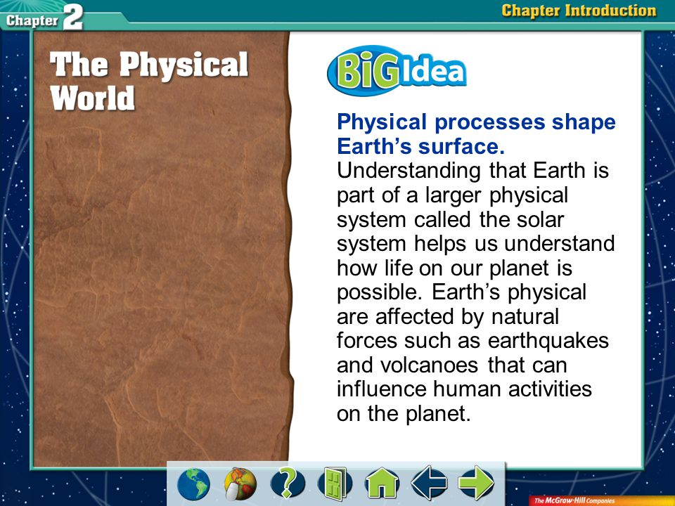 Chapter Intro 2 Section 1: Planet Earth As a physical system, what makes Earth suitable for plant and animal life?