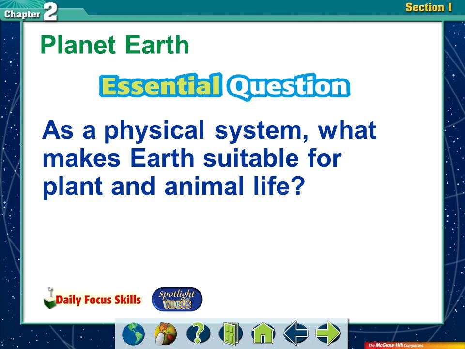 Section 1-GTR hydrosphere Planet Earth continental shelf approach lithosphere atmosphere biosphere assistance features