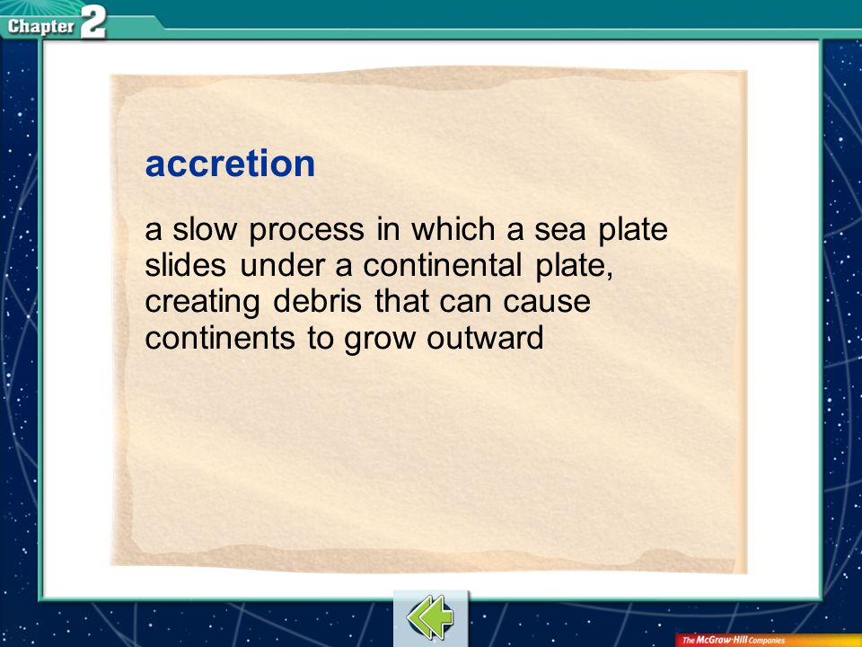 Vocab13 accretion a slow process in which a sea plate slides under a continental plate, creating debris that can cause continents to grow outward