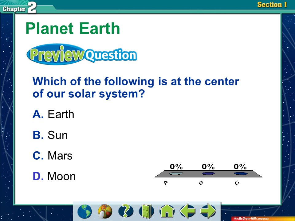 VS 1 Planet Earth Earth is the third planet from the sun in our solar system.