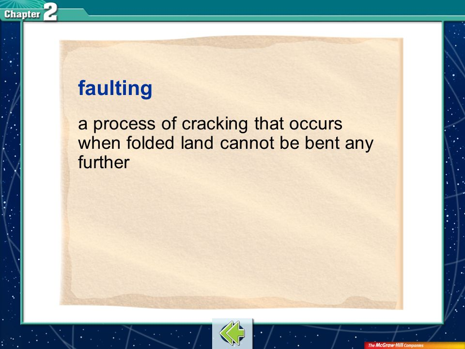 Vocab17 faulting a process of cracking that occurs when folded land cannot be bent any further