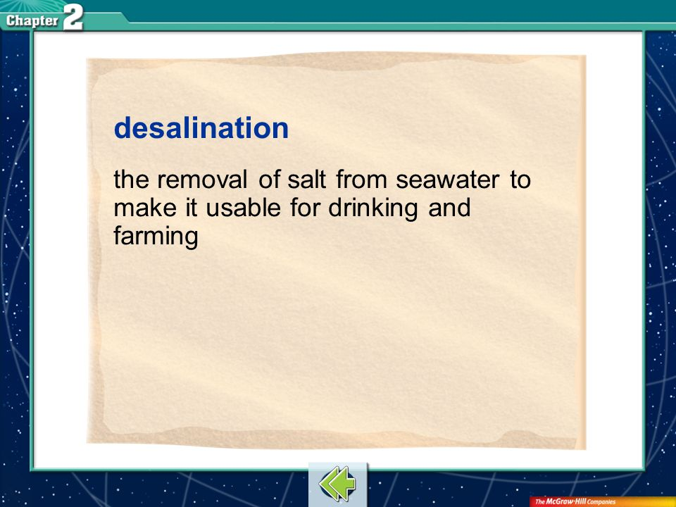 Vocab26 desalination the removal of salt from seawater to make it usable for drinking and farming