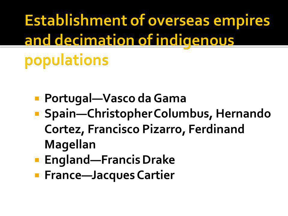  Portugal—Vasco da Gama  Spain—Christopher Columbus, Hernando Cortez, Francisco Pizarro, Ferdinand Magellan  England—Francis Drake  France—Jacques Cartier