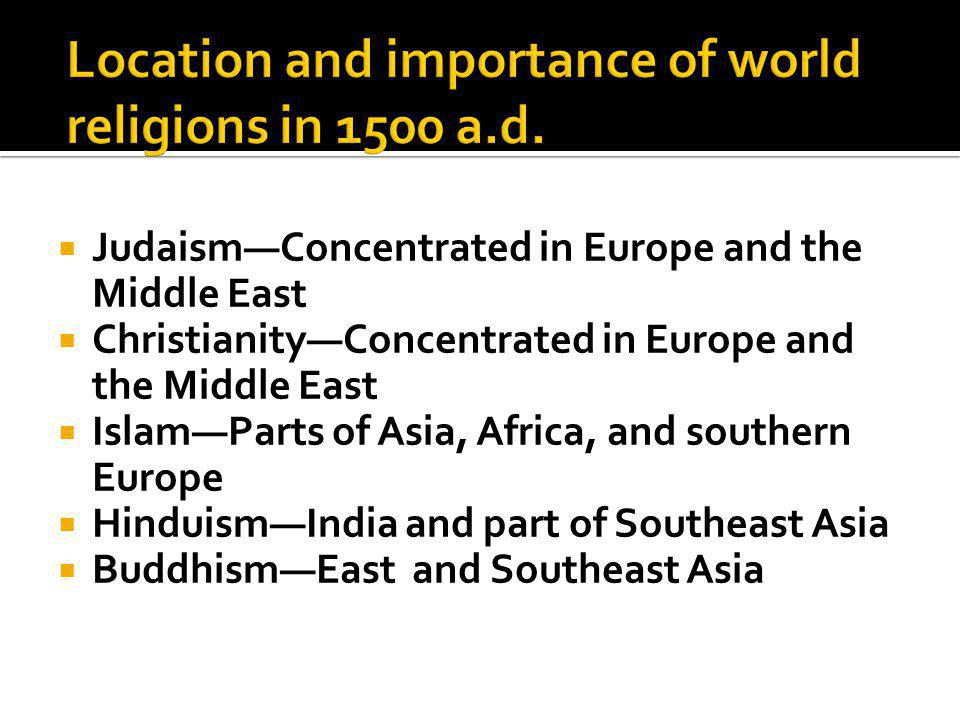  Judaism—Concentrated in Europe and the Middle East  Christianity—Concentrated in Europe and the Middle East  Islam—Parts of Asia, Africa, and southern Europe  Hinduism—India and part of Southeast Asia  Buddhism—East and Southeast Asia