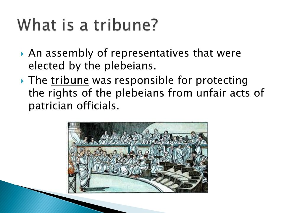  An assembly of representatives that were elected by the plebeians.  The tribune was responsible for protecting the rights of the plebeians from unf